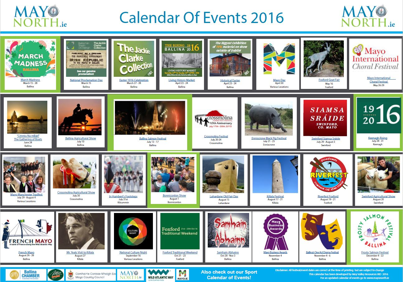 Mayo North Calendar of Events 2016