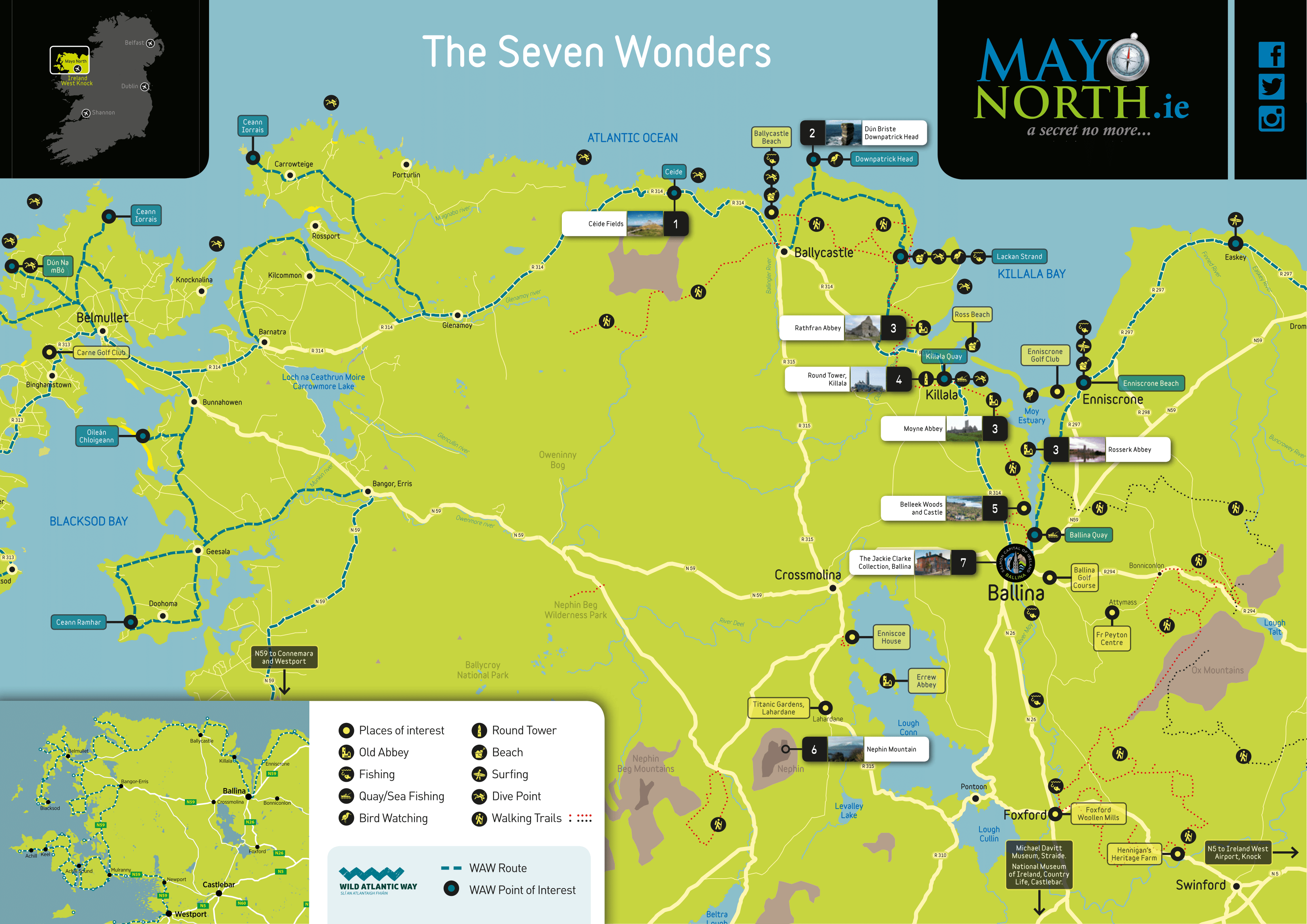 Seven Wonders of Mayo North map
