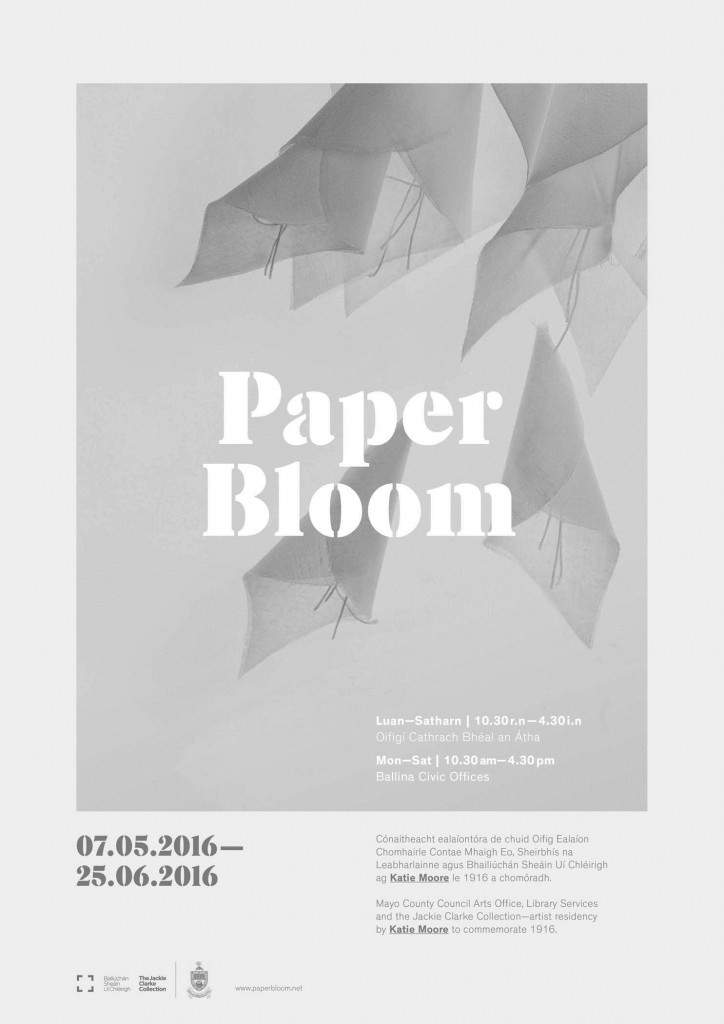 Poster for Katie Moore's 'Paper Bloom' exhibition