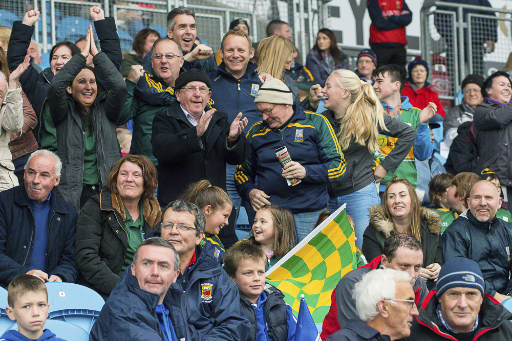 Fans cheer on their side at the Mayo Junior A Championship Final 2015 between Ardnaree and Killala