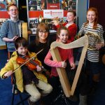Young musicians sampled the delights of their favourites instruments at the launch of the Music Generation's North Mayo Instrument Banks scheme in Ballina Library. PIctured with Music Generation's Co-ordinator Kate McKeon were Ethan Rodgers, Cliodhna Hennessy, Luke, Liam and Anna Maughan. Picture Henry Wills