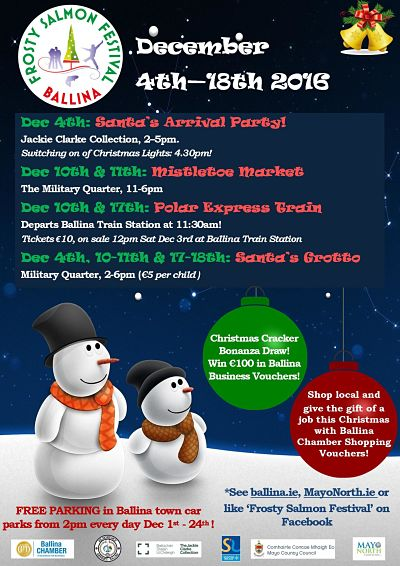 frosty salmon festival ballina 2016 christmas festival poster