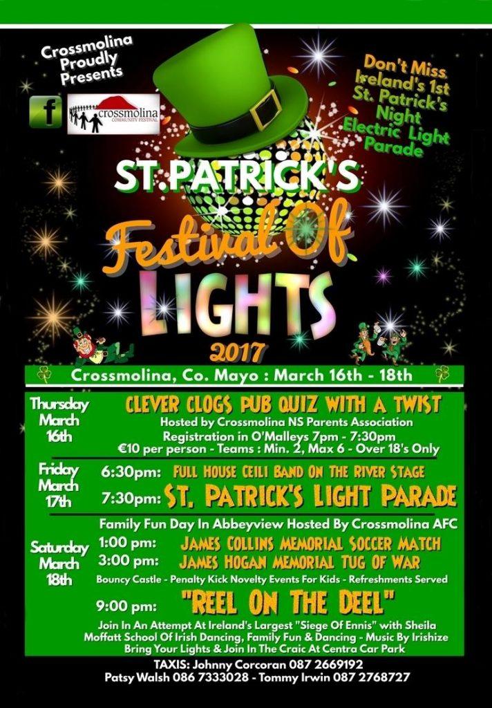 St Patrick's Festival of Lights Crossmolina poster