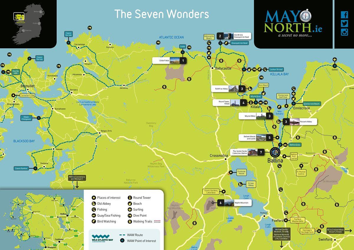 Seven Wonders of Mayo North Map Ballina Co. Mayo Ireland
