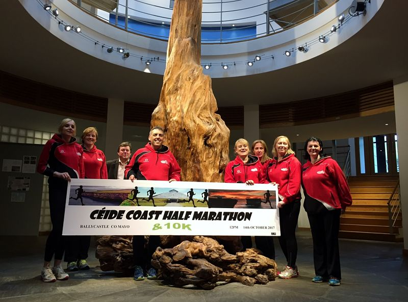 Members of the Ballycastle Athletic Club launch the 2017 Céide Coast Half Marathon and 10k at the Céide Fields Visitor Centre