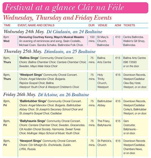 Mayo International Choral Festival Programme