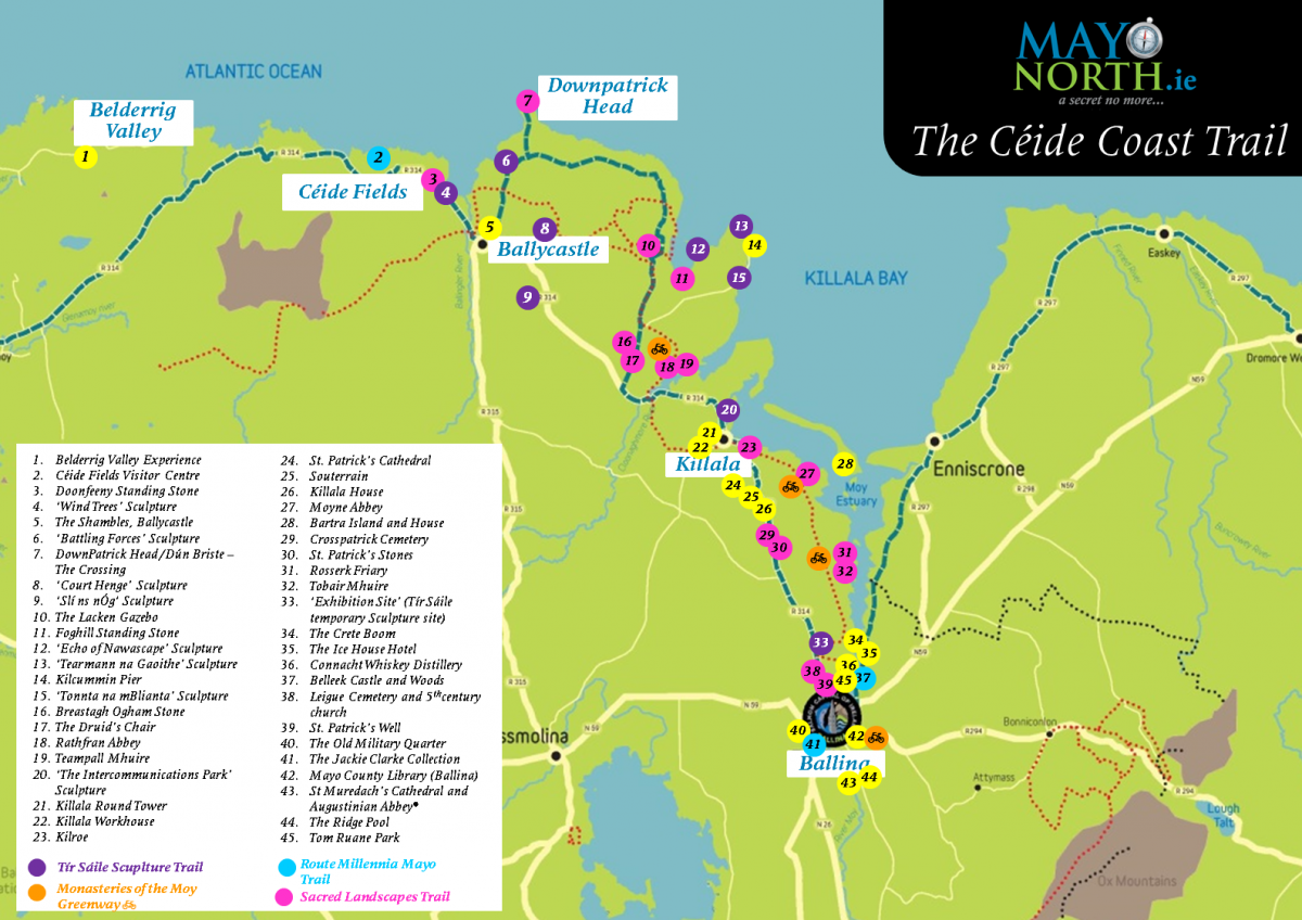 The Ceide Coast Trail of North Mayo map