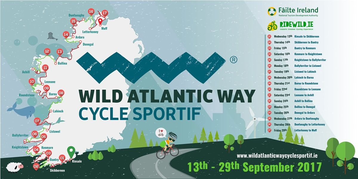 Wild Atlantic Way Cycle Sportif Wild Atlantic Way Failte Ireland Ride Wild Cycling Tourism Sports Tourism Leenane to Achill Achill to Ballina Ballina to Donegal