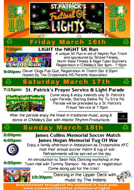 Crossmolina St Patrick's Day Festival of Lights and Electric Light Parade Programme of events