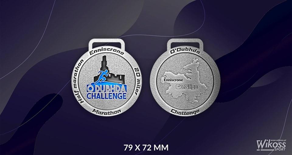 Enniscrone Half & Full Marathon, 20 miler – Ó'Dubhda Challenge medals