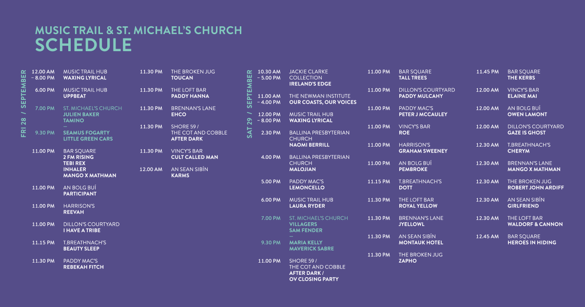 Other Voices Ballina full timetable programme list of gigs Other Voices Music Trail