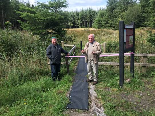 Prof Seamus Caufield and Cllr Michael Loftus at the opening of Blanemore Forest Archaeological Walk, Moygownagh