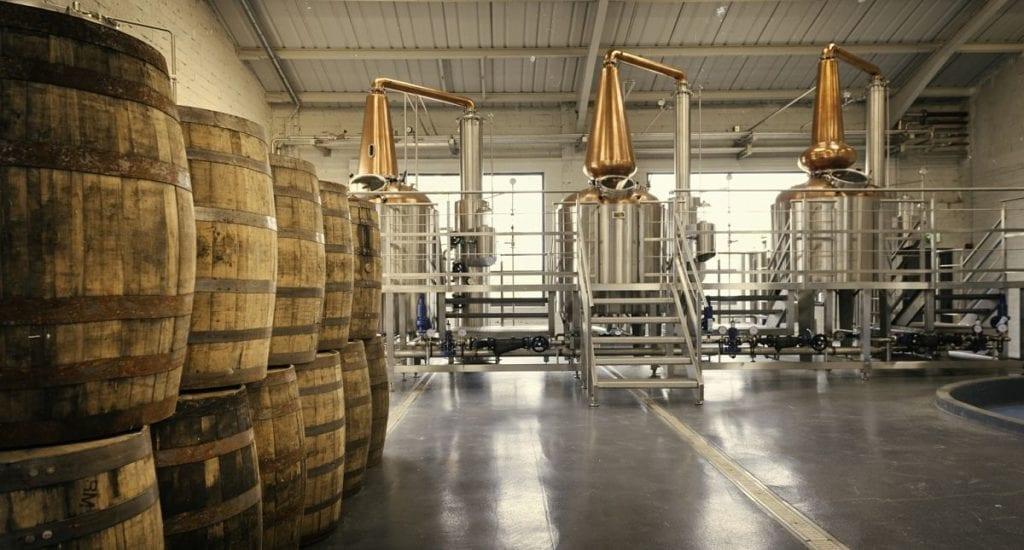 The Connacht Distillery three pot stills located in Ballina County Mayo Ireland