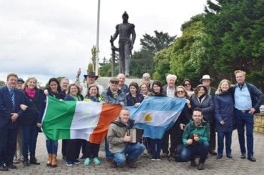 Argentinian Group pictured with statue of Admiral William Brown Foxford, August 2017 with the Admiral Brown Society