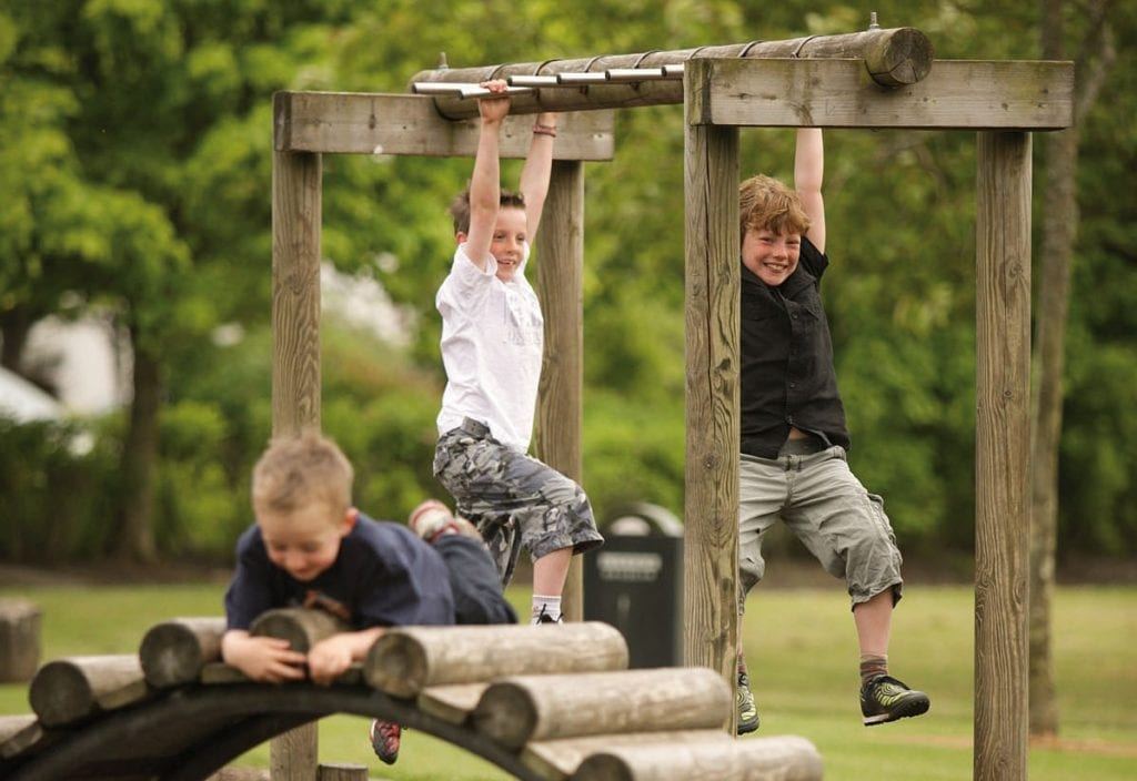 Tom Ruane Park Ballina. Co. Mayo children on climbing frame things to do in Ballina