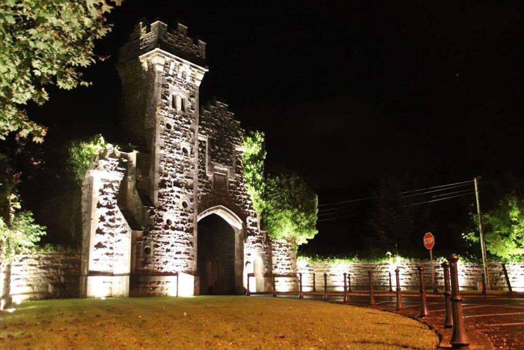 Belleek Castle and Woods Gate Lodge Ballina Co. Mayo illuminated at night