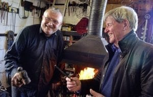 lacksmith Ray Munelly from Killala, Co Mayo, with Joe Mahon in an episode of Lesser Spotted Journeys due to be aired in November Picture: Billy Gallagher
