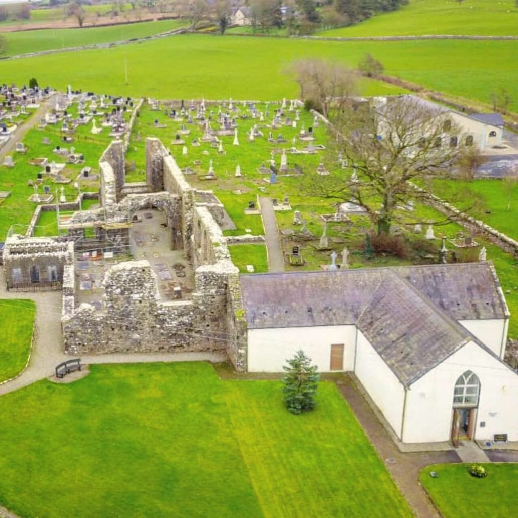 An aerial view of The Michael Davitt Museum and Straide Abbey in County Mayo, Ireland