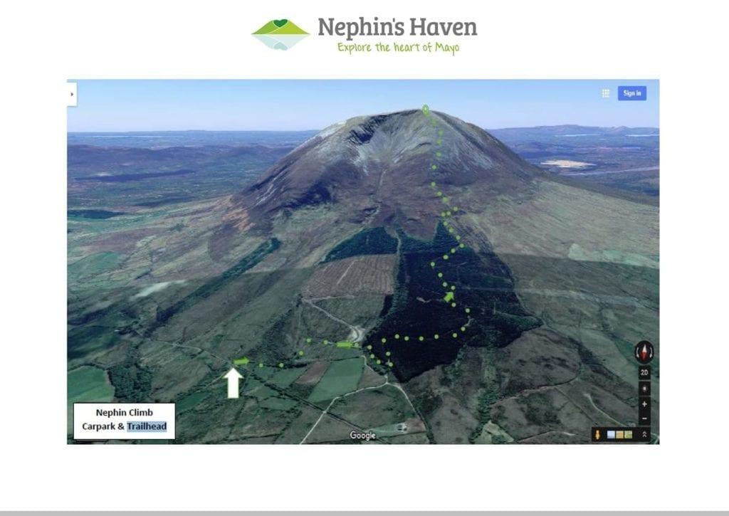 Climbing Nephin Climb route map Co. Mayo