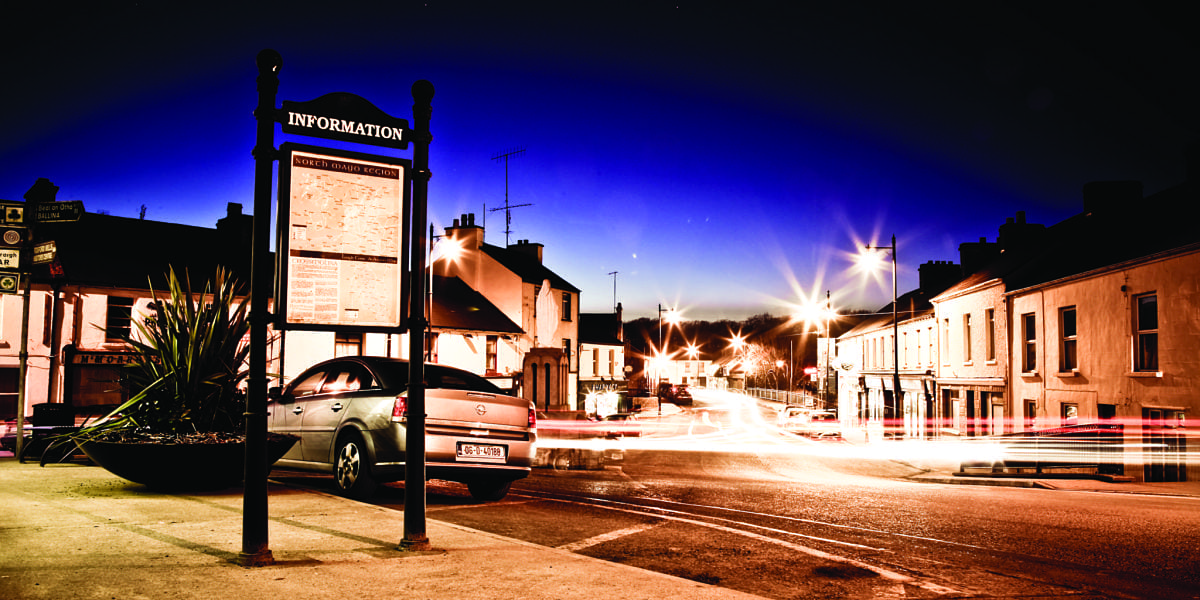 Crossmolina town by night