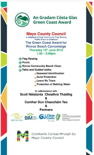 Mayo County Council to host Green Coast Award flag raising event on Rinroe Beach