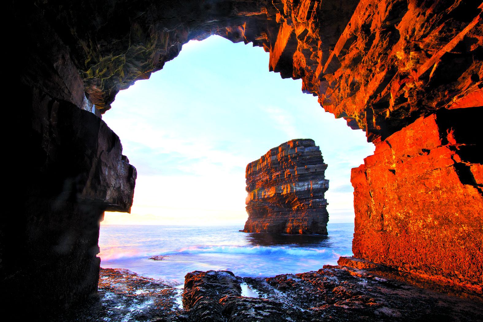 Dun Briste from Downpatrick Head sea cave, Co Mayo, Ireland.
