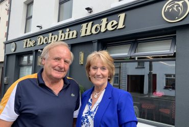 Pat and Mary Mulhern at front of Dolphin Hotel Crossmolina