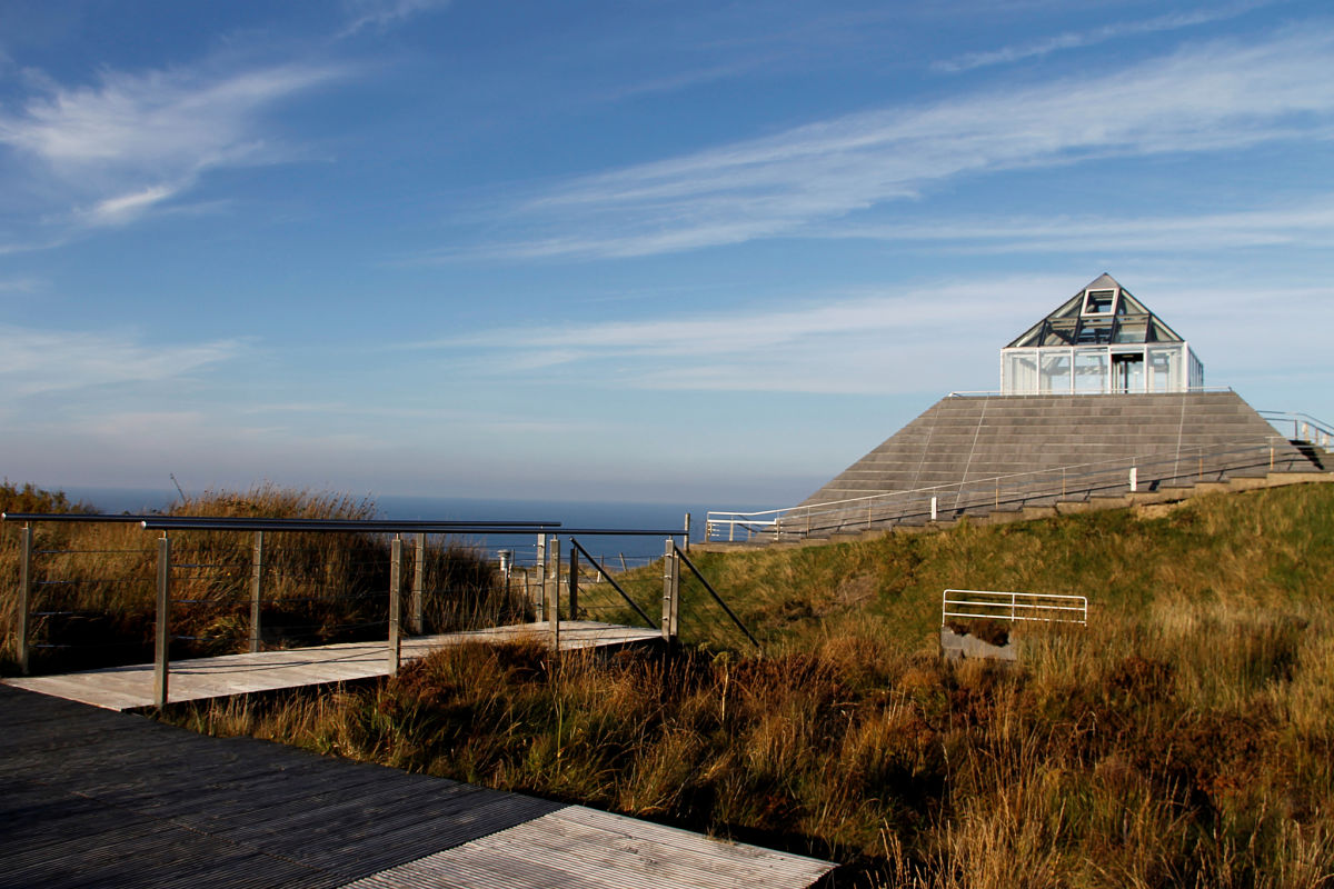 Ceide Fields visitor centre, Co. Mayo - a pyramid shaped dome along the boglands atop the raised cliffs of North Mayo