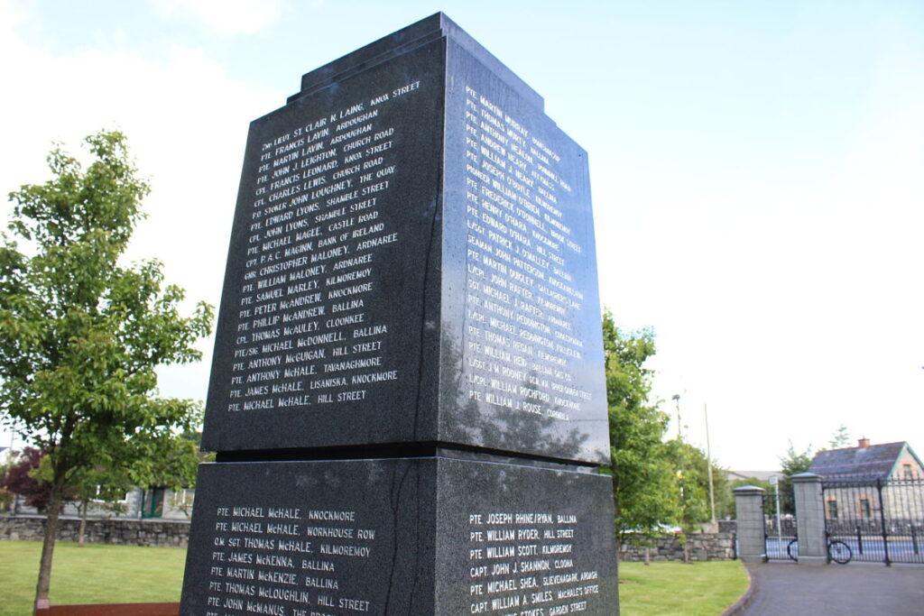 World War I Memorial in Ballina, Co. Mayo Ireland