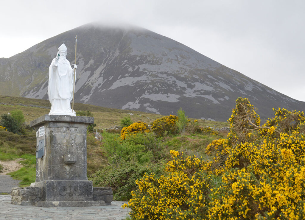 Statue of St. Patrick at the base of Croagh Patrick