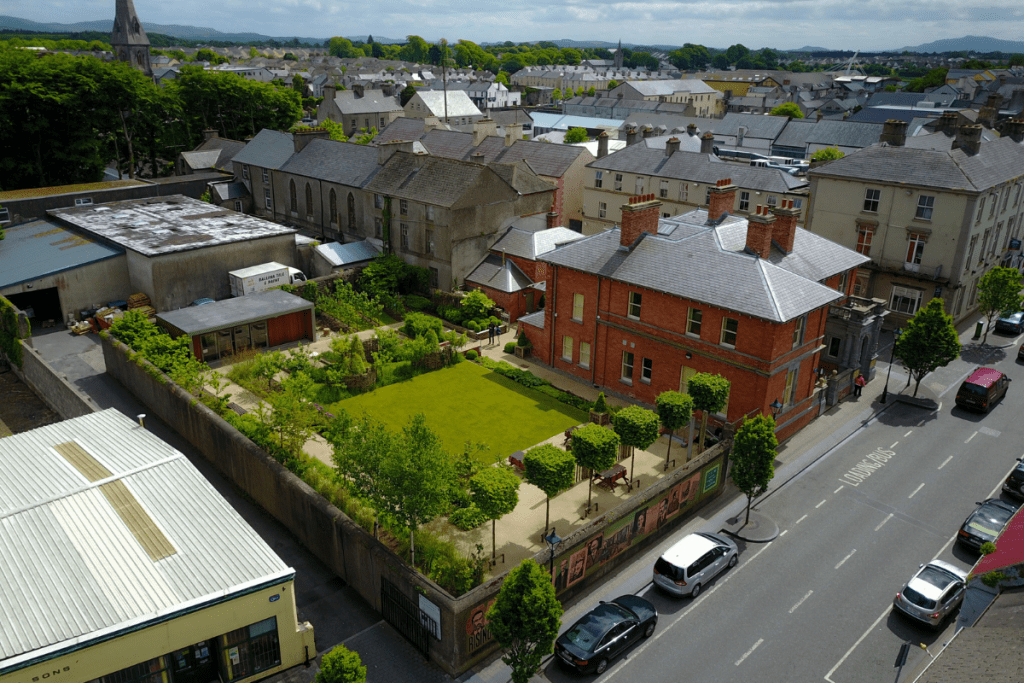 Top view of The Jackie Clarke Collection building and surrounding gardens.