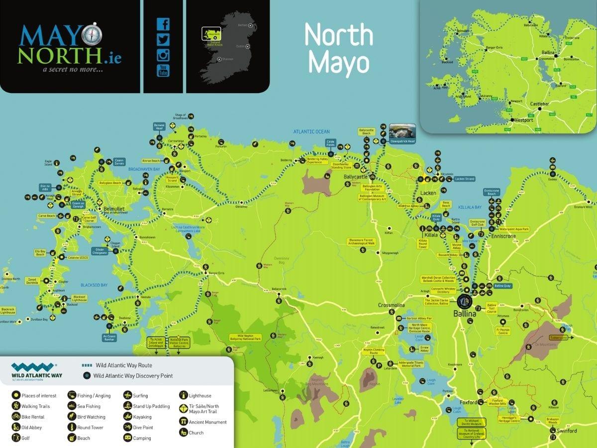 North Mayo adventure and activity map Ireland