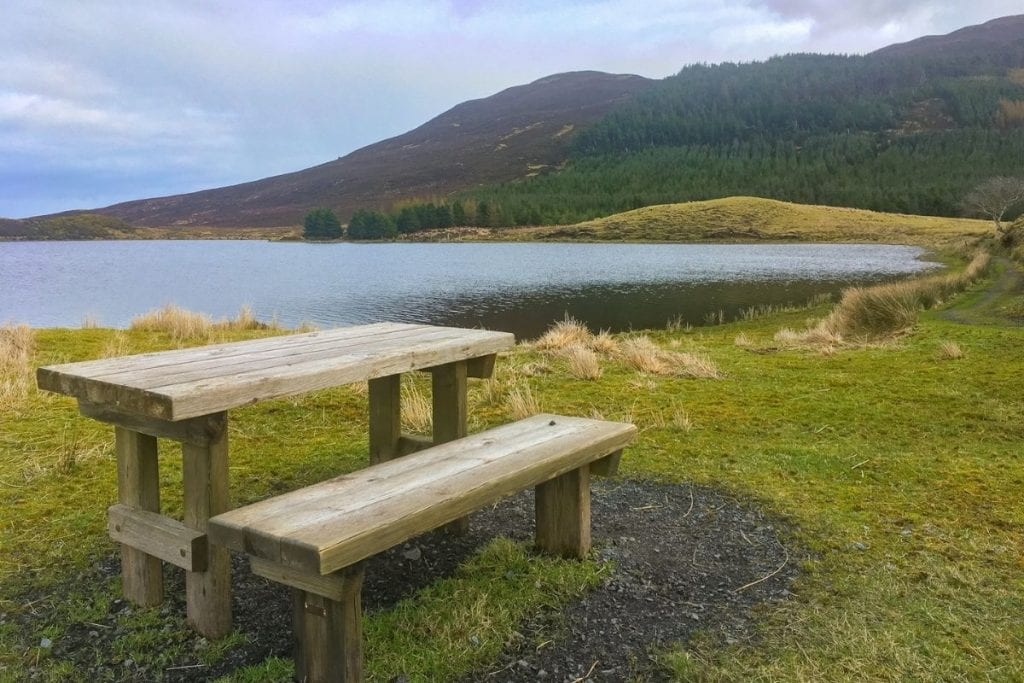 Picnic bench on the Drumleen Loop Walk, Keenagh, Crossmolina, Co. Mayo, Ireland