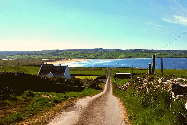 The road to Kilcummin Back Strand in County Mayo, Ireland