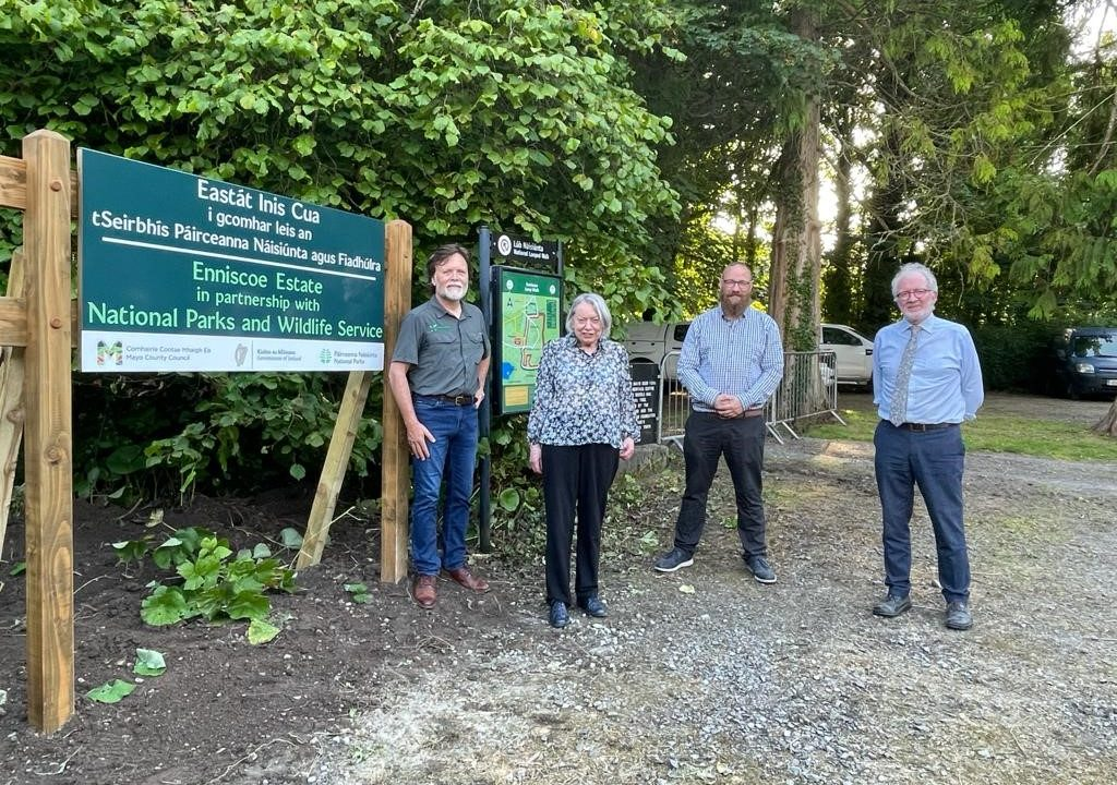 Pictured LtoR: Denis Strong, NPWS divisional manager; Susan Kellet and DJ Kellet, owners of Enniscoe House; and Minister of State for Heritage and Electoral Reform Malcolm Noonan T.D.