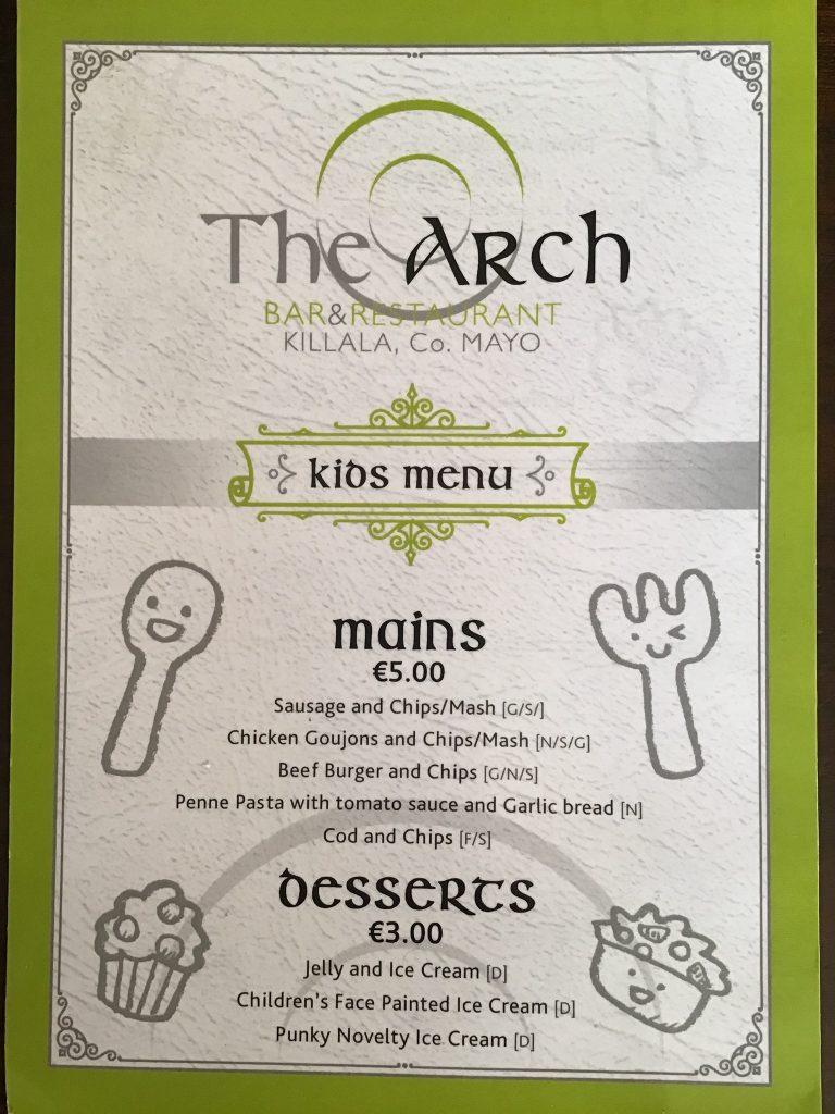The Kids Menu from The Arch Bar Restaurant, Killala, County Mayo, Ireland
