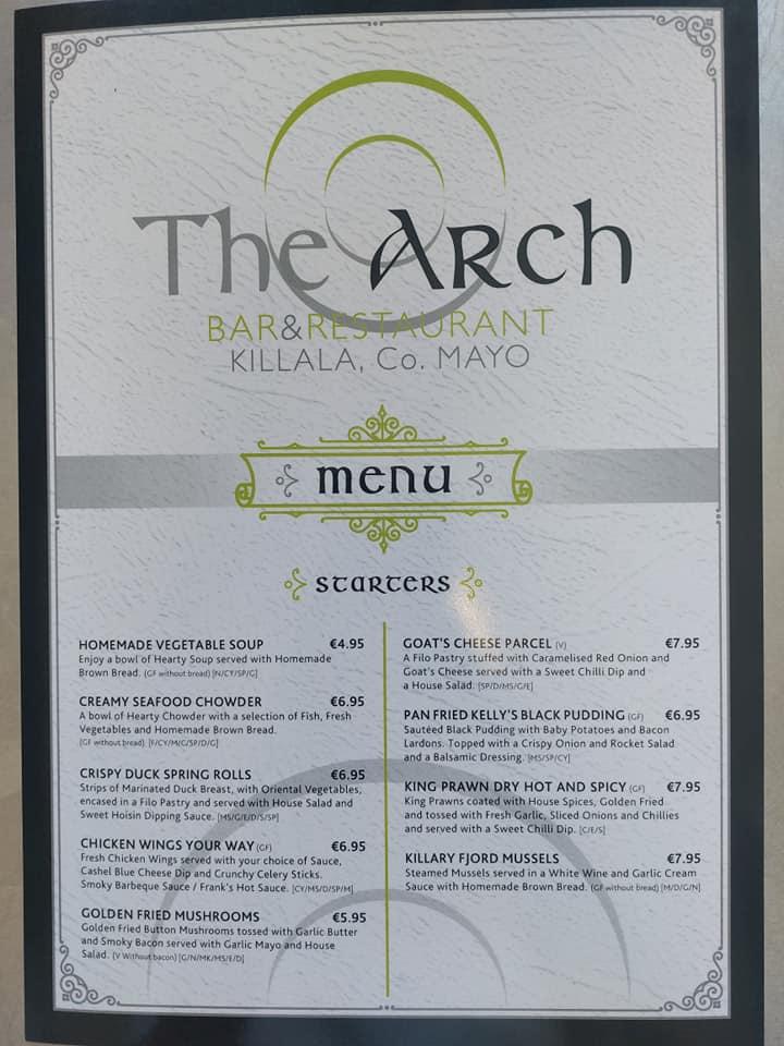 The Menu from The Arch Bar Restaurant, Killala, County Mayo, Ireland
