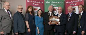 Westport businessman Cathal Hughes, who has been named the 'Virginia Gallagher Mayo Person of the Year for 2019' by Mayo Association Dublin is pictured with (l-r): Michael Kealey (Treasurer, Fr. Gerry French (Vice President), Grace Heneghan (Secretary), Julie Doyle (Chairperson), Eddie Melvin (President), Frank Fleming (Hon. Life President) and Adrian Neary (Assistant Treasurer) - Pic: Michael McLaughlinIso: 100Copyright: Copyright Michael Mc Laughlin Studios 2018